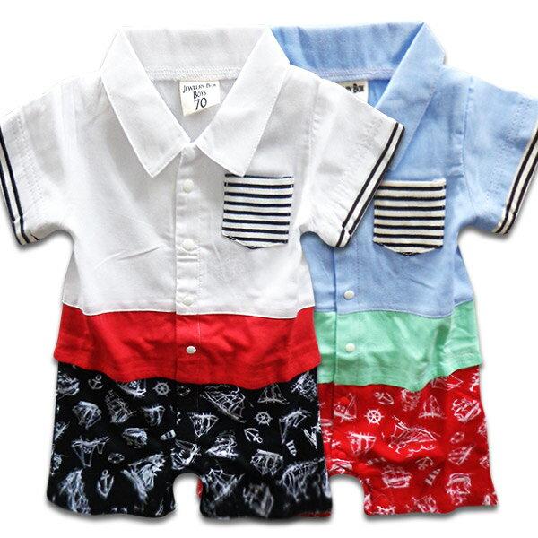 韓国子供服ロンパースダンガリーマリンパンツベビー半袖ロンパース/カバーオールロンパース70cmロンパ
