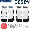 GOSEN(ゴーセン)【メンズ 5本指ハーフソックス(2足セット) F15MH2P】ウェア