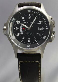 Hamilton Khaki Navy GMT BK / leather H77615833