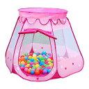Iiomise 子供 キッズテント ボールハウス おもちゃ 知育玩具 折りたたみ式 アウトドアも室内 (ピンク) 収納 誕生日 ゲーム