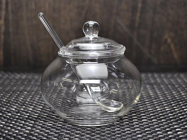 ガラスシュガーポット(スプーン付き)[耐熱ガラス食器保存容器軽い]