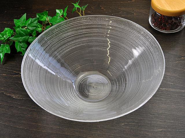 細溝ラインがお洒落なガラス食器イマージュ ボウル 25cm [ ボール 大鉢 ]