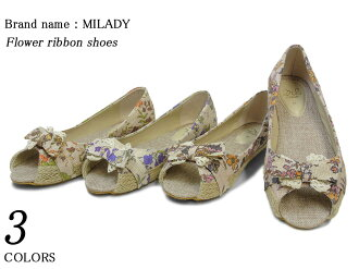All three colors of spr10P05Apr13 flower ribbon opening toeshoes Lady's 02P13Dec13