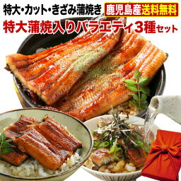 <strong>母の日</strong> ポイント5倍 グルメ ギフト <strong>うなぎ</strong> 国産 鹿児島産 ブランド鰻 特大・カット・きざみ蒲焼き 3種蒲焼セット 送料無料 グルメ ウナギ 国産 海鮮 贈り物 誕生日 お祝い 魚介 プレゼント クール