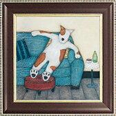 「ラウンジング ドッグ」ヘルガ サーマット【通信販売】(特殊ゲル加工アート・イヌ・ネコ・犬・猫・いぬ・ねこ[絵画通販])