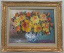 「黄色いバラ」谷口春彦(F6サイズ油彩画[油絵](直筆油彩画)・開運風水画・静物・薔薇・花[絵画通販])【壁掛けフック付き】【絵のある暮らし】