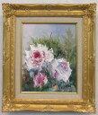 「バラ」(ピンクの薔薇)谷口春彦(F3サイズ油彩画[油絵](直筆油彩画)花風水・開運風水画・静物画[絵画通販])【壁掛けフック付き】【絵のある暮らし】