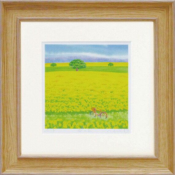 「春の丘」Sサイズくりのきはるみ通信販売くりのきはるみ版画作品・[絵画通販])黄色・花・春・ギフト・