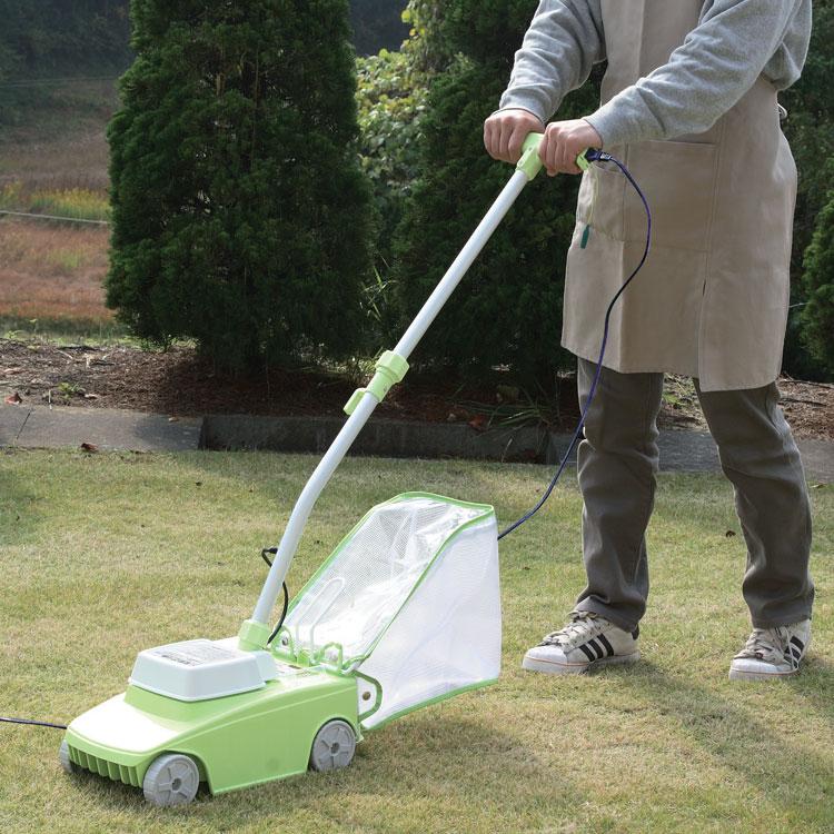 芝刈り機電動雑草対策電動芝刈り機G-200N中身が見えるグラスキャッチャー付きロータリー式芝刈り機ア