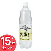 強炭酸水 1L×15本 プレーン レモン 送料無料 炭酸飲料 飲料 割り材 清涼飲料水 友桝飲料 【D】
