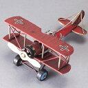 ブリキのおもちゃ ブリキの飛行機 ブリキ 飛行機 複葉機 二葉機 biplane【赤】