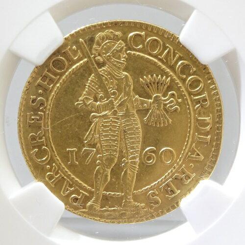 【送料無料】オランダ HOLLAND ホラント 2ダカット金貨 1760年 NGC【AU55】