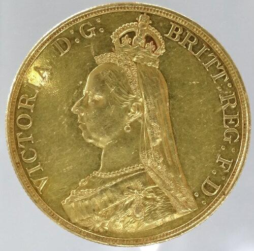 【代引・送料無料】イギリス ヴィクトリア女王ジュビリーヘッド 5ポンド金貨 1887年 極美品