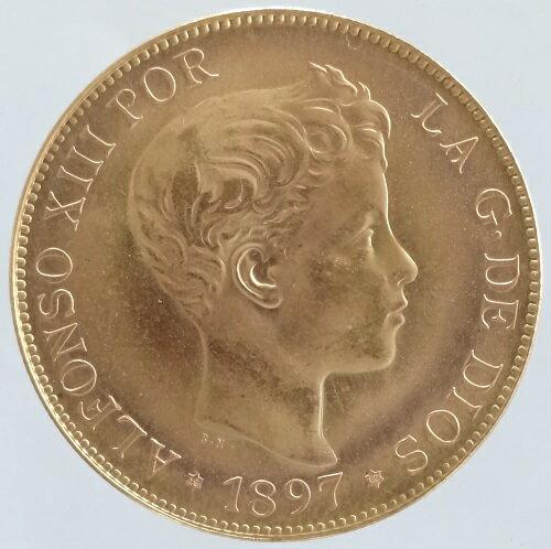 スペイン スペイン王アルフォンソ13世 100ペセタ金貨 1897年(1962)リストライク 未使用