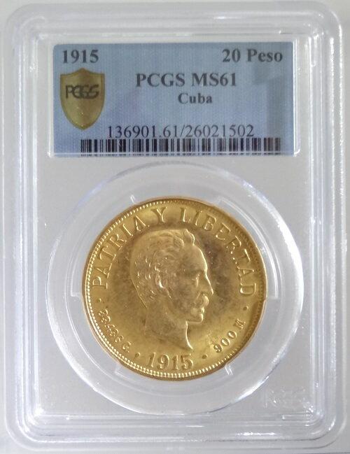 キューバ ホセ・マルティ 20ペソ金貨 1915年 PCGS鑑定【MS61】