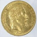 フランスナポレオン3世 月桂冠 100フラン金貨 1863年(BB)極美品