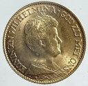 オランダウィルヘルミナ1世10グルデン金貨1917年未使用