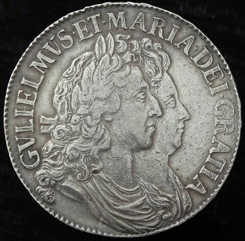イギリスウィリアム&メアリーTERTIOクラウン銀貨1691年
