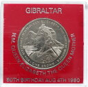 英領ジブラルタル エリザベス2世 クイーンマザー生誕80周年 クラウン白銅貨 1980年 未使用