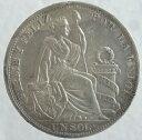 ペルー 女神座像 1ソル銀貨 1889年 美品