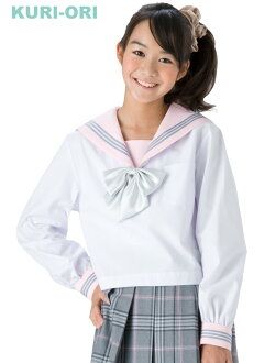 [KURI-ORI]White sailor tops,Pink collar,long sleeves