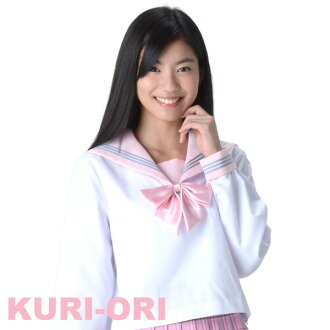 [KURI-ORI]White sailor tops,Pink collar,long sleeves