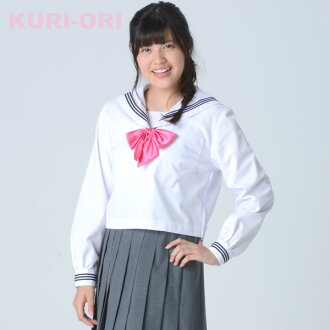 [KURI-ORI] White sailor tops, White collar,Long sleeves 155A〜175A