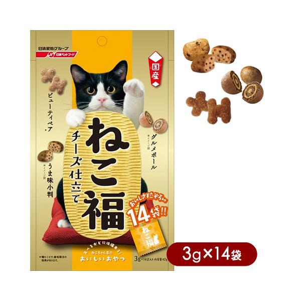 日清ペットフードねこ福チーズ3g×14袋キャットフード/猫用おやつ/猫のおやつ・猫のオヤツ・ねこのお