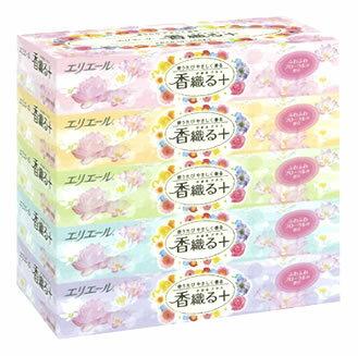 大王製紙 エリエール 香織る+ ×5箱入) ボックスティッシュ