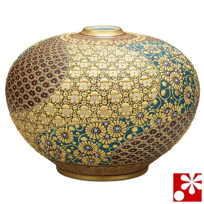 九谷焼 10号 花瓶 本金盛割取小紋 作田花仙( 大きな サイズ )