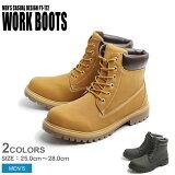【シューズ全品 送料無料】 ワークブーツ ブラック イエロー 全2色WORK BOOTS PT-172 メンズ (男性用) ワーク カジュアル アウトドア ブーツ ヌバック調 ロールトップ