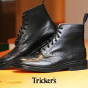 送料無料 トリッカーズ TRICKER'S TRICKERS メンズ ストウ ダブルレザーソール ブラックカーフ カントリー ブーツ ウィングチップ ウイ..