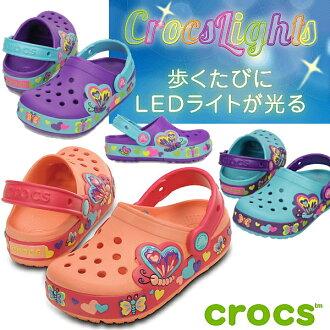 Yogui crocslights 蝴蝶堵塞發光 Crocs 涼鞋 Crocs Liz 蝴蝶 PS 15685 孩子涼鞋孩子兒童木屐涼鞋-