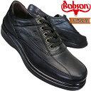 ボブソン B5203 黒 メンズ カジュアルシューズ ウォーキングシューズ レザースニーカー 革靴 紐靴 ゆったり 本革 ブラック Bobson 4E eeee 幅広 ワイド