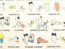 41079-11 20オックス生地 布 大忙しお母さんネコ 41079-11キナリ 動物柄 ねこ 猫 小柄 ルシアン 商用利用可能