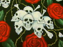【楽天ランキング入賞商品】生地 布 USAコットン THE ALEXANDER HENRY FABRICS skulls スカル 1595AR アレキサンダーヘンリー ファブリックス バラとドクロ 商用利用可能