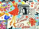 USAコットン 生地 布 タイムレストレジャーズ パリ ピンナップ C3751WHITE Paris Pin-ups Timeless Treasures 凱旋門 エッフェル塔 ノートルダム寺院 パリジェンヌ 商用利用可能