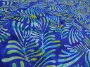 USAコットン 生地 布 バリバティックス 3766-55ろうけつ染め 手染め ジャワ更紗 BENARTEX ベナーテックス インドネシアの手工芸品 リーフ柄 葉っぱ 商用利用可能