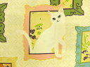 ネコ柄 生地 布 NEKO3 HR3180-11A 額絵と猫 QUILT GATE キルトゲイト 百華繚蘭 ひゃっかりょうらん 和調柄 動物柄 猫柄 金ラメ装飾 三毛猫 白猫 大柄 商用利用可能