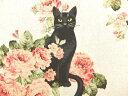 AP81306-1 コットンリネン生地 凛とした猫 薔薇と黒猫 AP81306−1 大柄 こ柄 ネコ 猫 クロネコ 商用利用可能