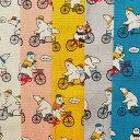 メーカー完売 コットンリネンキャンバス生地 布 サイクリング 白クマ パンダ AP02404−1 綿麻キャンバス生地 動物柄 商用利用可能