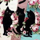 メーカー完売コットンリネン混生地 布 オールドローズ&黒猫 KP9063−2 バラ柄 ねこ柄 ネコ 猫 クロネコ 商用利用可能