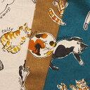 A柄メーカー完売コットンリネンキャンバス生地 布 くつろぎネコ AP05405-2 綿麻生地 リラックスキャット 猫柄 商用利用可能