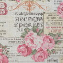 コットンリネンキャンバス生地 布 綿麻コラージュ AP11805Aキナリ 綿麻プリント キャンバス生地 バラ 花柄 商用利用可能