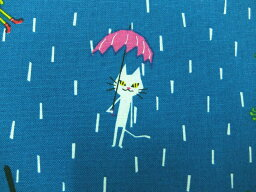 コットンリネン混生地 ミン・ローダ【雨降りマニマル】148−1836−D2 minloda 動物柄シロネコ クロウサギ ヒツジ キツネ カエル クマ
