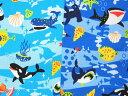 907 入園入学 オックス生地 布 最後の楽園 海の生き物 907 クジラ ジンベエザメ イルカ エイ 商用利用可能