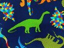 USAコットン 入園入学 生地 布 ベッドロック ディノス 8201-55ネイビー ダイナソー 恐竜 モザイク模様 カンヴァス ベナーテックス 商用利用可能