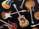 USAコットン 生地 布 タイムレストレジャーズ ギターズ C1611BLACK アコースティックギター エレキギター 商用利用可能