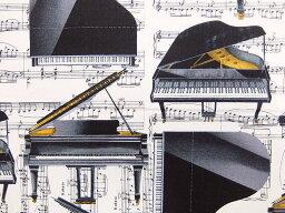 USAコットン 生地 布 ピアノソロ 8448−09 ミュージック イン ミー グランドピアノ カンヴァス ベナーテックス The Music In Me Piano Solo White 商用利用可能