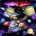 USAコットン 生地 布 インスペース 1297black エリザベススタジオ In Space 水星 金星 地球 火星 木星 土星 天王星 海王星 冥王星 彗星 星雲 銀河 商用利用可能